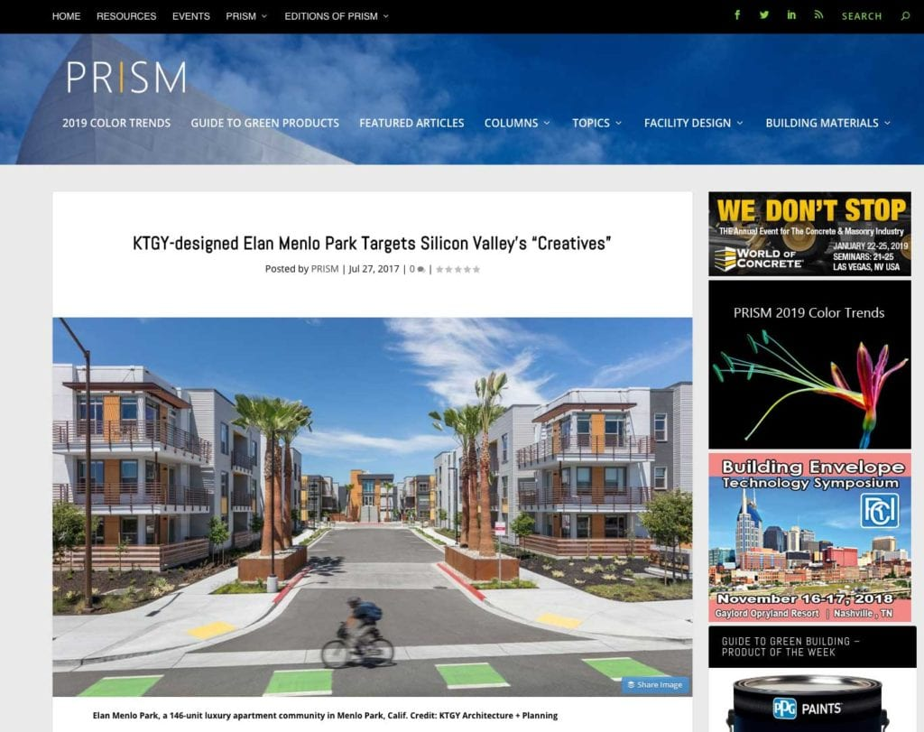 Parisi Hired as Interior Designer for KTGY-designed Elan Menlo Park Project