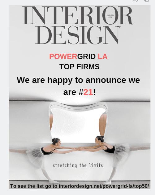 Parisi Portfolio Ranks #21 in Interior Design Top 50 Power Grid