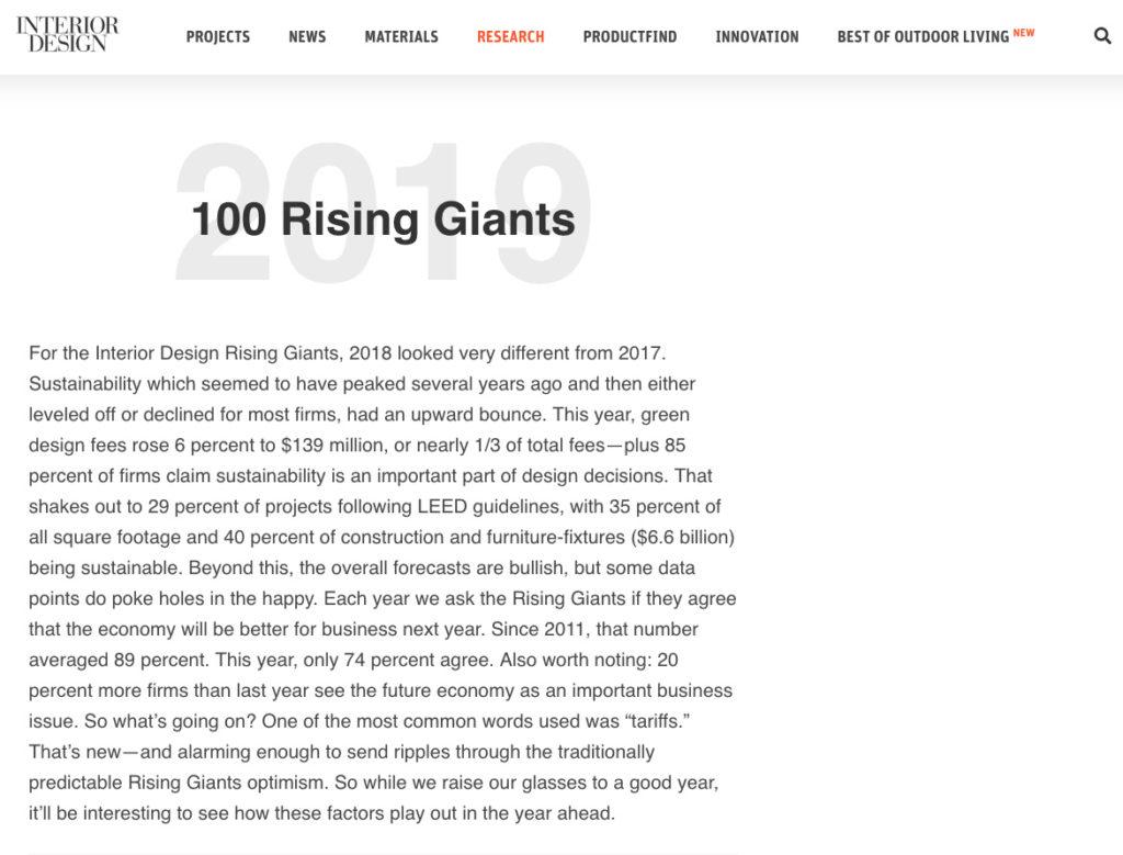 Parisi Portfolio ranks Top 100 Interior Design Magazine
