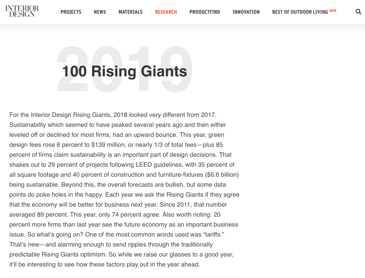 Parisi Ranks in the Top 100 Rising Giants by Interior Design Magazine