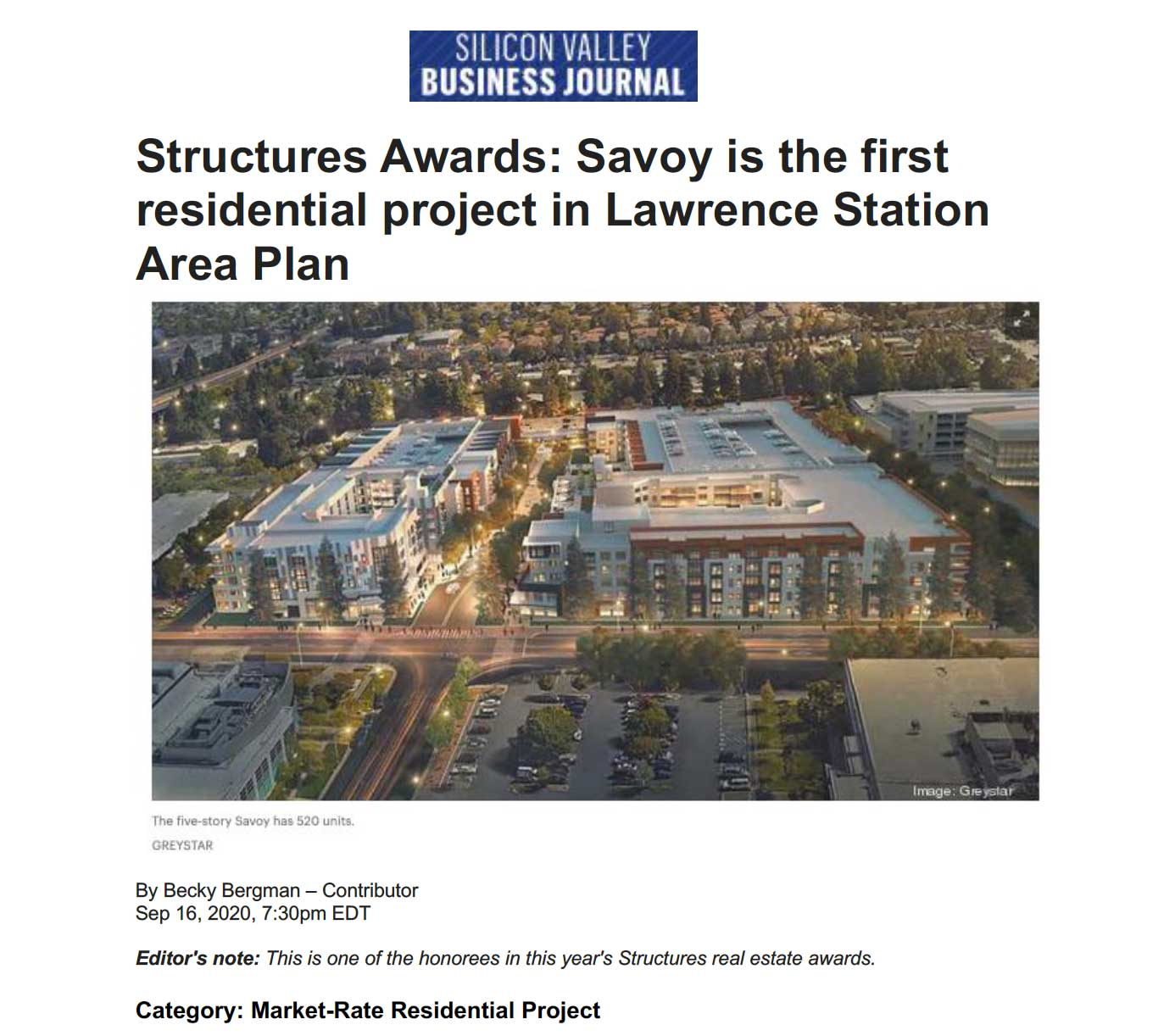 2020 Structures Awards: Savoy is the first residential project in Lawrence Station Area Plan